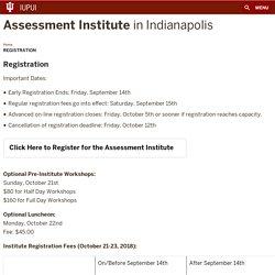 Registration:Assessment Institute:IUPUI