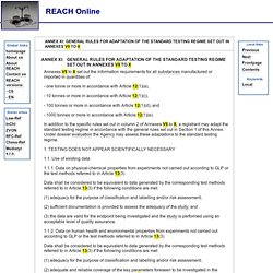 [annexXI] REACH - Registration, Evaluation, Authorisation and Restriction of Chemicals