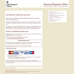 Registration Services - Certificate Ordering Service