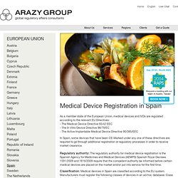 Medical Device Registration in Spain, Medical Device Consultants Spain, Medical Device Approval Spain