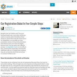 Car Registration Dubai In Few Simple Steps