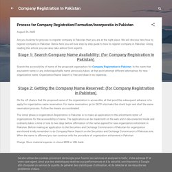 Process for Company Registration/Formation/Incorporatio in Pakistan