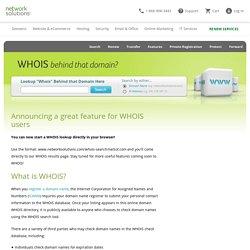 WHOIS Lookup & Domain Lookup