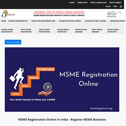 MSME Registration Online in India