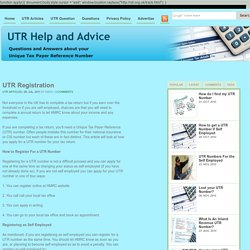 UTR Number - Your Unique Taxpayer Reference Number