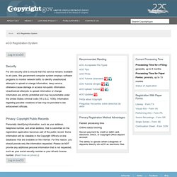 Online Services (eCO: Electronic Copyright Office)