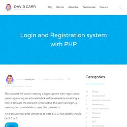Login and Registration system with PHP - David Carr