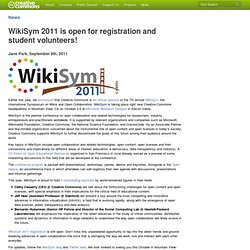 WikiSym 2011 is open for registration and student volunteers!