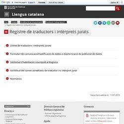 Registre de traductors i intèrprets jurats. Llengua catalana