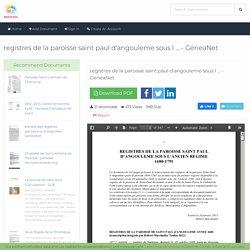 registres de la paroisse saint paul d'angouleme sous l ... - GeneaNet - MOAM.INFO