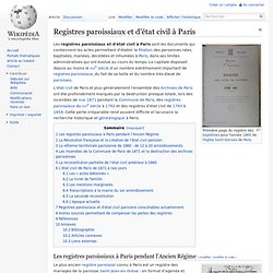 Registres paroissiaux et d'état civil à Paris