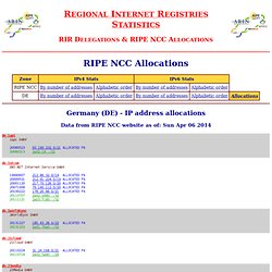 Regional Internet Registries Statistics - RIPE NCC Allocations - Germany (DE) - IP address allocations