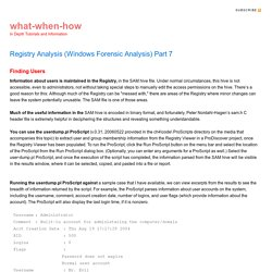 Registry Analysis (Windows Forensic Analysis) Part 7