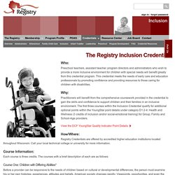 The Registry >> Inclusion Credential