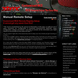 Custom Registry settings 4 MCE Remotes