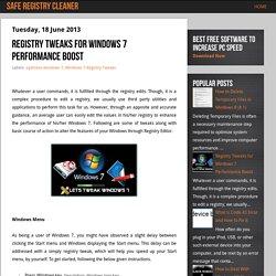 Registry Tweaks for Windows 7 Performance Boost