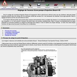Réglage de l'avance d'une pompe d'injection Bosch VE