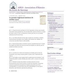 Le premier règlement intérieur (8 octobre 1912) - AHLS : Association d'Histoire du Lycée de Savenay