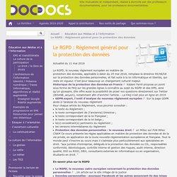 Le RGPD : Réglement général pour la protection des données