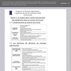 L'application du droit du travail dans l'Unité Commerciale