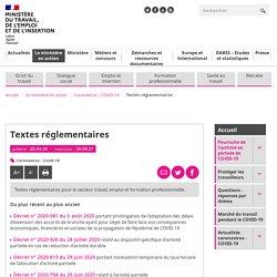 Textes réglementaires COVID-19 - ministère du Travail