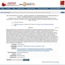 ENVT - 2016 - Thèse en ligne : De la naissance à la vente : aspects pratiques et réglementaires de l'élevage félin en France - Réglementation en vigueur le 01/10/2016