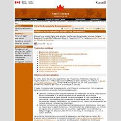 SANTE CANADA 30/12/15 Décision de réévaluation RVD2015-04, Diméthoate