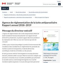 CANADA_CA 25/09/20 Agence de réglementation de la lutte antiparasitaire Rapport annuel 2018–2019