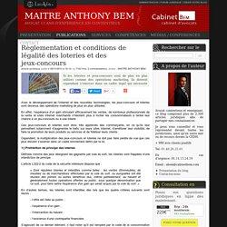 Règlementation et conditions de légalité des loteries et des jeux-concours