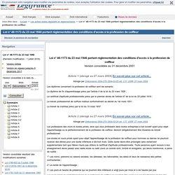 Loi n° 46-1173 du 23 mai 1946 portant réglementation des conditions d'accès à la profession de coiffeur