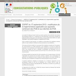 MEDDE 19/08/13 CSPRT du 17 septembre 2013 : modification de la réglementation applicable aux appareils contenant des PCB et aux