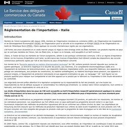 Réglementation de l'importation - Italie - Italie