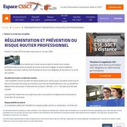 RÉGLEMENTATION ET PRÉVENTION DU RISQUE ROUTIER PROFESSIONNEL