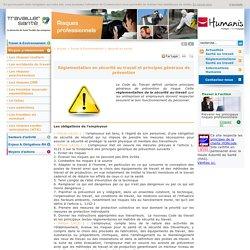 Réglementation sécurité au travail, évaluation risques professionnels