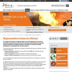 Incendie sur le lieu de travail. Réglementation et textes de référence