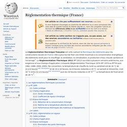 Réglementation thermique (France)