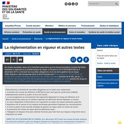 La réglementation en vigueur et autres textes