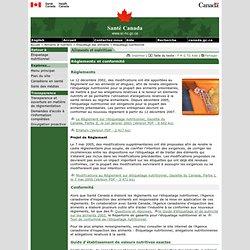 SANTE CANADA - Le Règlement sur l'étiquetage nutritionnel