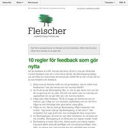 10 regler för feedback som gör nytta