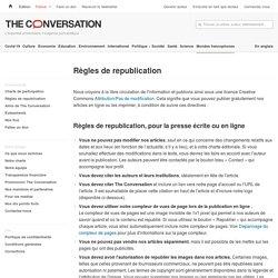 Règles de republication – The Conversation