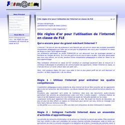 Dix règles d'or pour l'utilisation de l'internet en classe de FLE