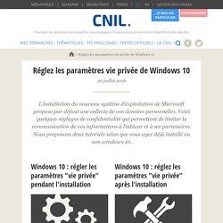 Réglez les paramètres vie privéede Windows 10