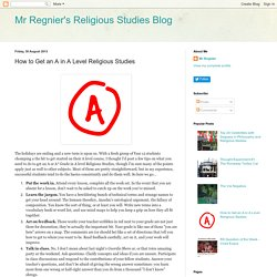 How to Get an A in A Level Religious Studies