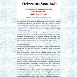 Il Regolamento sulla valutazione (D.P.R. n. 122/2009): Avvertenze per l'uso