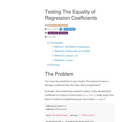 Testing The Equality of Regression Coefficients