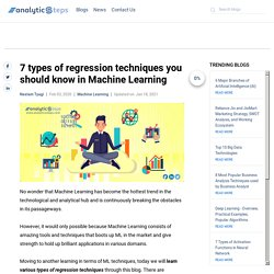 7 types of regression techniques you should know in Machine Learning