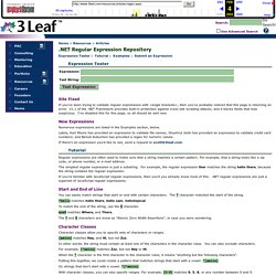 3 Leaf: .NET Regular Expression Repository