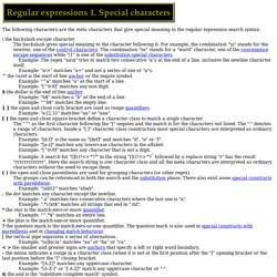 Regular expressions 1. Special characters