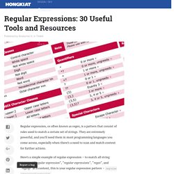 Regular Expressions: 30 Useful Tools and Resources