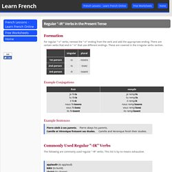 """Regular """"-IR"""" Verbs in the Present Tense - QCFrench.com"""